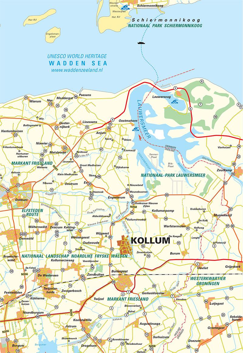 Kollum en omstreken op de kaart. Klik voor vergroting.