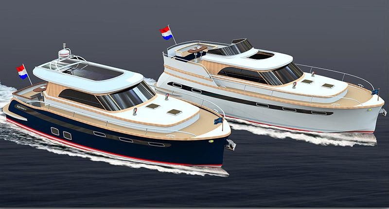 Nu nog tekeningen van jachtontwerper Jan Piet Bakker, realiteit op Boot Holland 2017: de nieuwe Majestic-lijn van Aquanaut Yachting Holland in Sneek.