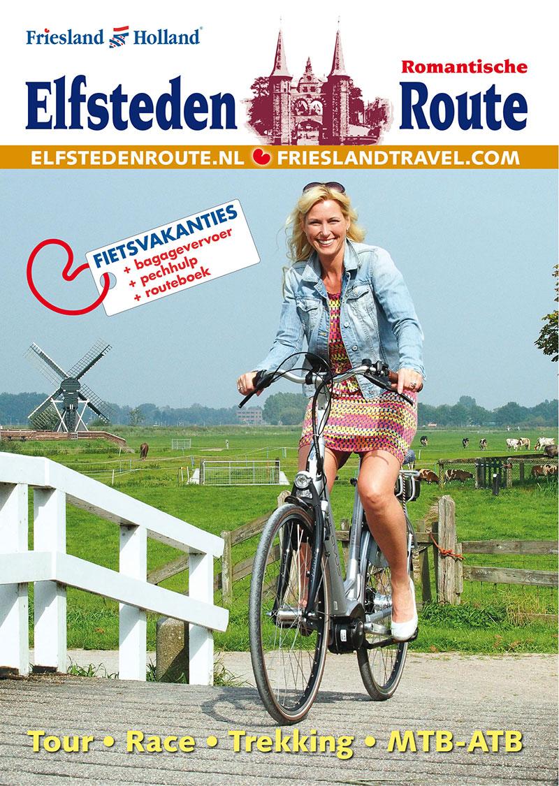 De omslag van het nieuwe Elfsteden fietsroutemagazine van Friesland Holland Tourist Information & Travel Service.