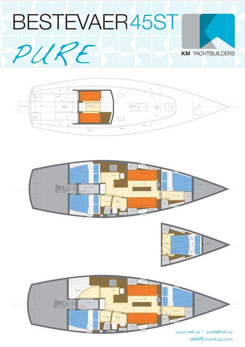 Het zeilplan, de interieur layouts en specificaties van de Bestevaer 45ST PURE.