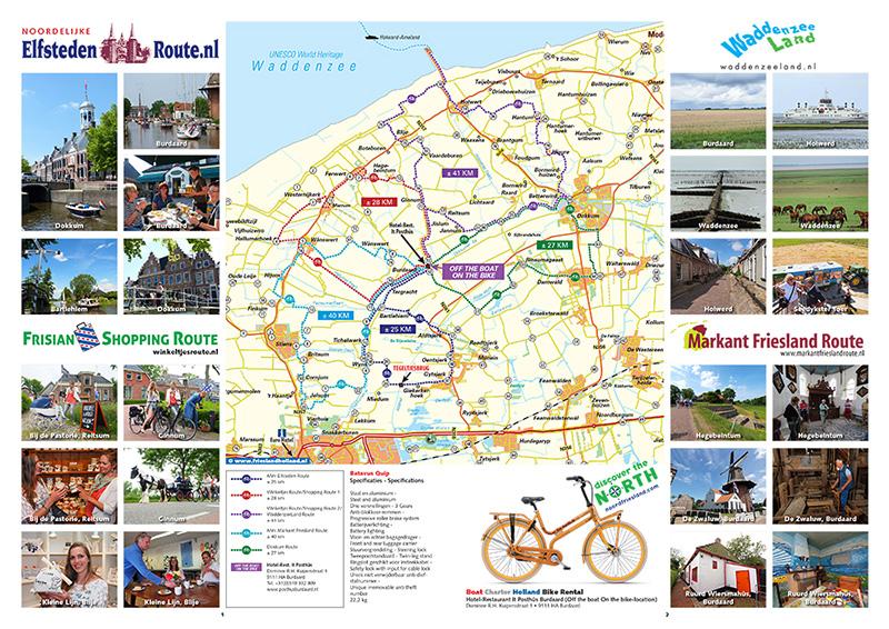 Deze route- en attractiekaart Discover the North met fietsknooppunten staat in de nieuwste Boat Charter Holland-gids, voor het eerst verkrijgbaar in de stands in hal 17 en 14 van Friesland Holland op Boot Düsseldorf (www.boot.de).