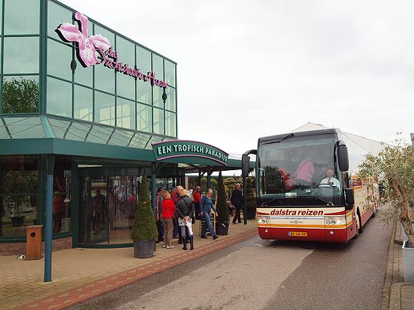 Ook Friese bussen rijden af en aan bij de Orchideeënhoeve. Het is een belangrijke elk-weer-attractie voor heel Noord-Nederland.
