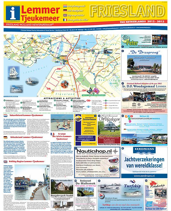 De nieuwe viertalige toeristenkaart van de regio Lemmer en de omgeving van het Tjeukemeer, ook een Friesland Holland-productie.