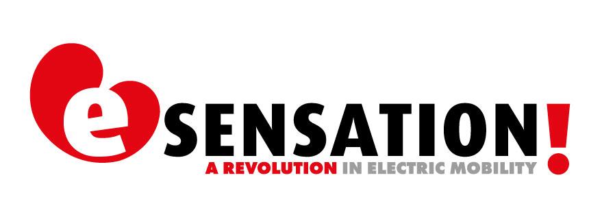 Logo E-sensation: E-sensation, Friesland-vakanties met elektrische fietsen, boten en auto's.