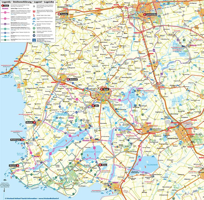 Varen en fietsen in het Friese merengebied is een stuk leuker met de zeer gedetailleerde gratis routekaart Friese Meren van Friesland Holland.