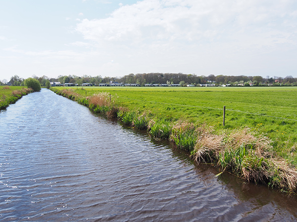 De Wytikkersfeart is nu ruim 1 m diep. Op de achtergrond chaletpark De Vossenhoek in het hart van Rijs.