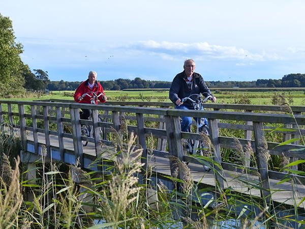 Een derde van de ouderen heeft een e-bike. Deze foto werd gemaakt in de Lindevallei bij Wolvega. Info: www.goudenfriesewouden.nl en www.wolvegaholland.nl