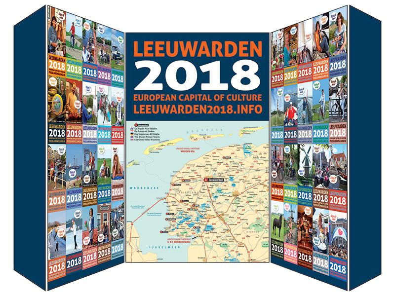 De inofficiële Leeuwarden CH 2018 stand waarmee het Friese toerisme- en marketingbureau Friesland Holland op tournee is.