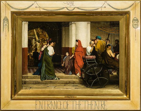 Lawrence Alma-Tadema (Dronrijp 1836 – Wiesbaden 1912), Entrance to a Roman Theatre (Tadema Opus XXXV), olieverf op doek, 70,4 x 98,4 cm, gesigneerd linksonder: L. Alma Tadema, geschilderd in april 1866, in originele, door de kunstenaar ontworpen lijst.