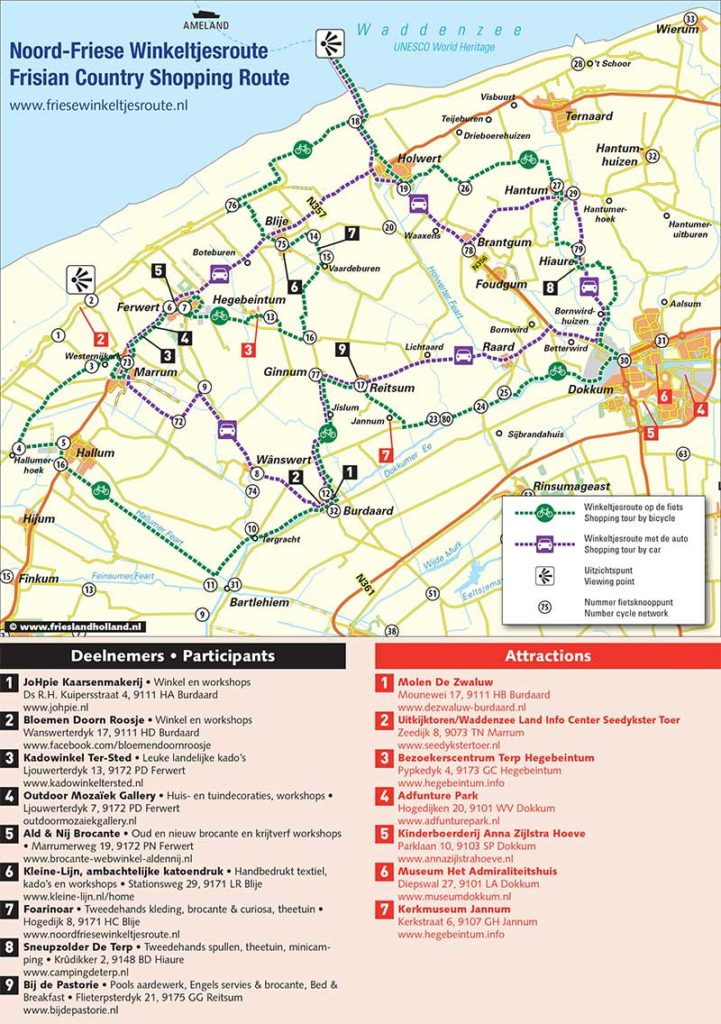 Door Friesland Holland Tourist Information route- en attractiekaart van De Friese Winkeltjesroute tussen Dokkum en Marrum.