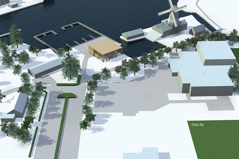 Een artist's impression van het museumterrein van Houtstad IJlst. In de gele kubus, aan de haven van de molen, wordt het houtbelevings- en houtbouwcentrum ondergebracht. Het ontwerp komt van architectenbureau Onix in Groningen.