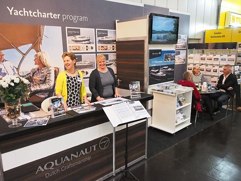 Aquanaut Yachting uit Sneek staat in hal 17 naast Interboat sloepen en cruisers en Water World Electronics uit Blesdijke-Oldemarkt.