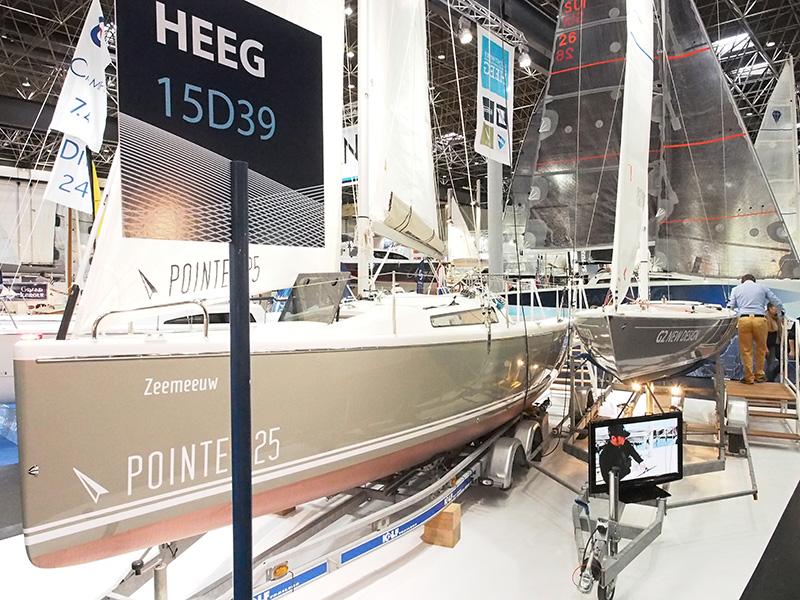 Nog meer zeilsensatie uit Heeg en wel in hal 15 waar Jachtwerf Heeg staat met de Pointer (kajuitzeiljacht) en de G2 (snelle open zeilboot).
