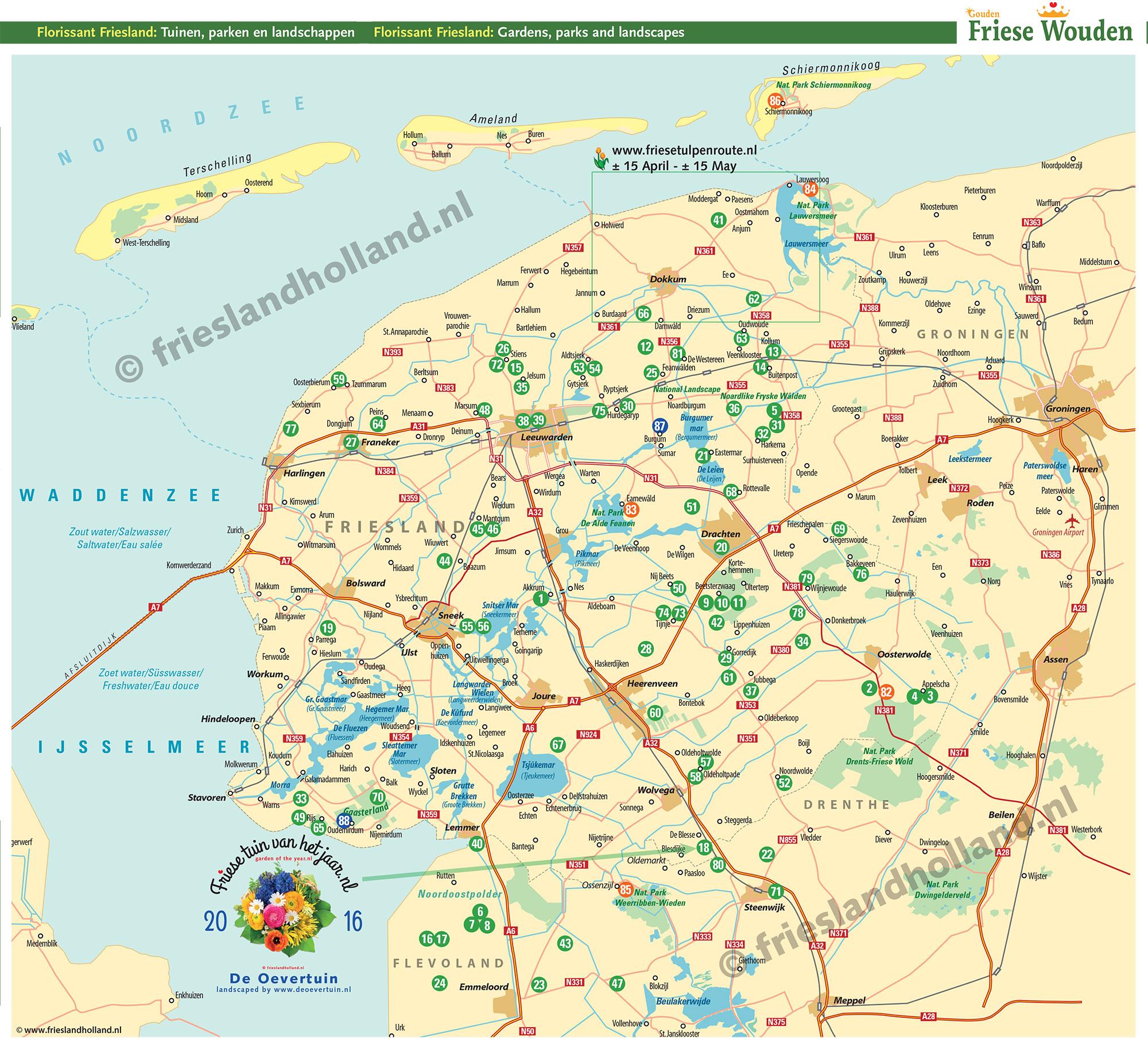 Tuinenroute kaart