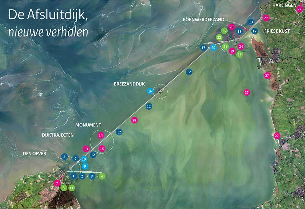 Overzichtskaart van projecten op de Afsluitdijk.
