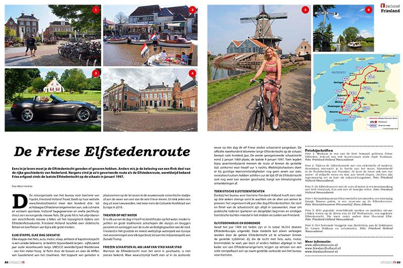 De redactionele double spread over de Elfstedenroute in de bijlage Nummer 1 van Dagblad De Limburger en het Limburgs Dagblad.