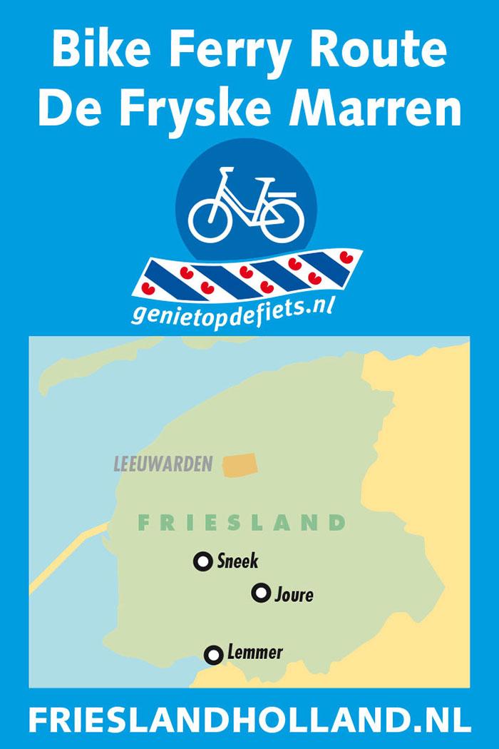 Pontjesroute 'De Fryske Marren' is een bijzonder boeiende fietsroute met o.a. UNESCO Werelderfgoed Ir. D.F. Wouda stoomgemaal in Lemmer, weidse polders, de bossen van Sint Nicolaasga, Elfsteden- en watersportstad Sneek, Kameleondorp Terherne, Shopping & Dining City Joure en vele strandjes, zoals in Echtenerbrug-Delfstrahuizen aan het Tjeukemeer.